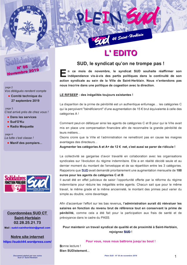 Journal du Syndicat SUD Saint-Herblain