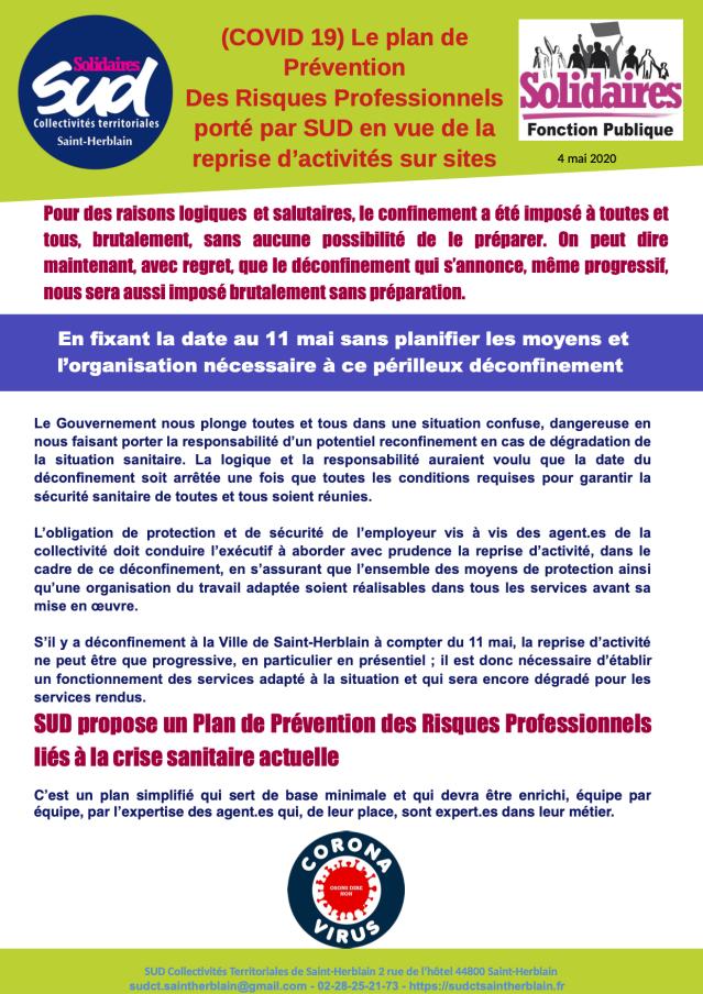 (COVID 19) Le plan de Prévention Des Risques Professionnels porté par SUD en vue de la reprise d'activités sur sites