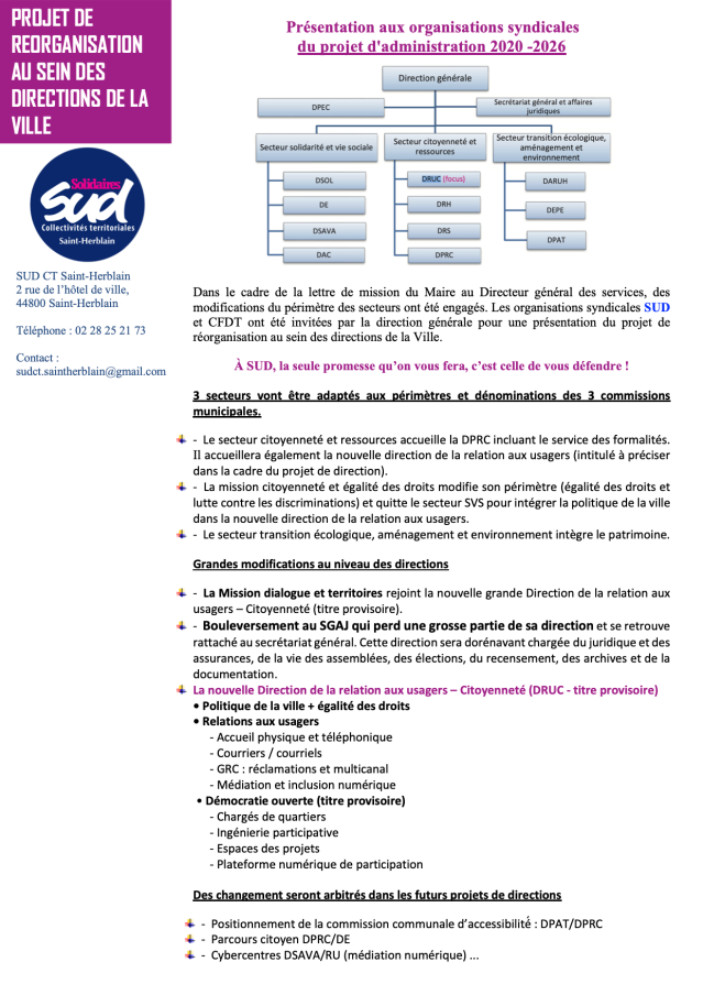 PROJET DE REORGANISATION AU SEIN DES DIRECTIONS DE LA VILLE