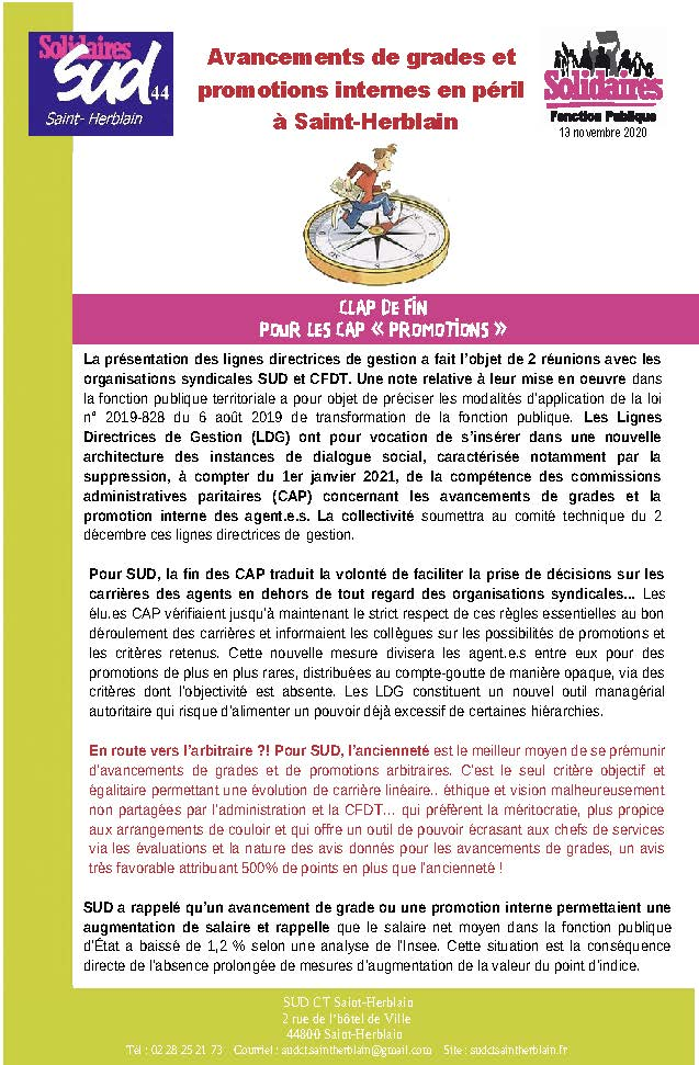 Avancements de grades et promotions internes en péril à Saint-Herblain