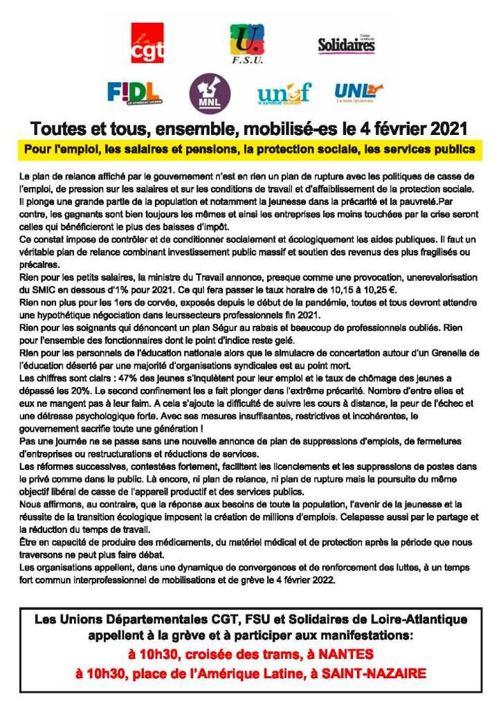 Manifestation du 21 janvier 2021 Manifestation du 26 janvier 2021 Manifestation du 28 janvier 2021 Manifestation du 4 février 2021 Nantes
